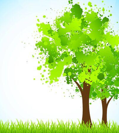 illustraiton: Primavera de fondo con �rboles y c�sped illustraiton Bright