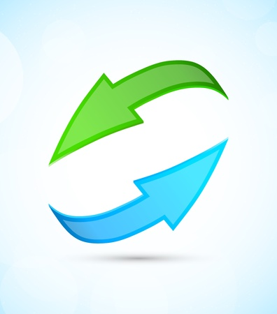 recycling symbol: Green and blue arrows on blue background