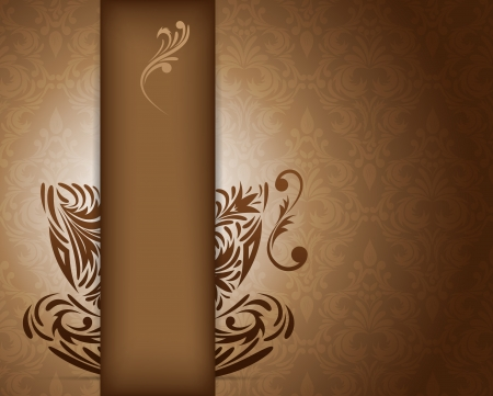 Background with stylized coffee cup. Abstract illustration Vector
