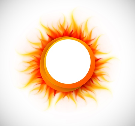sun burnt: Bright orange circle with flame. Abstract illustration