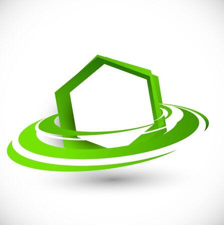 Green flying hexagon  Abstract bright illustration Stock Vector - 17994435
