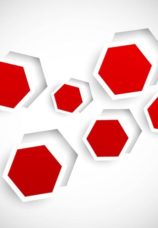 to cut out: Abstract background with red cut out hexagons