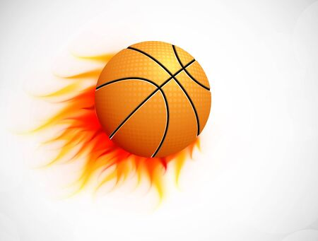 Ball with flame on gray background  Abstract illustration Vector