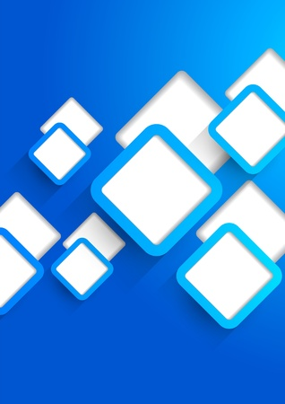 Background with blue cut out squares Vector