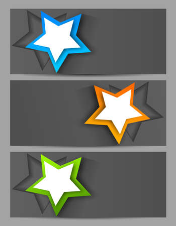 Set of banners with cut out stars Stock Vector - 17994469