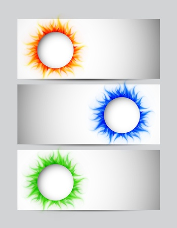 Set of banners with burning circles Stock Vector - 18161350