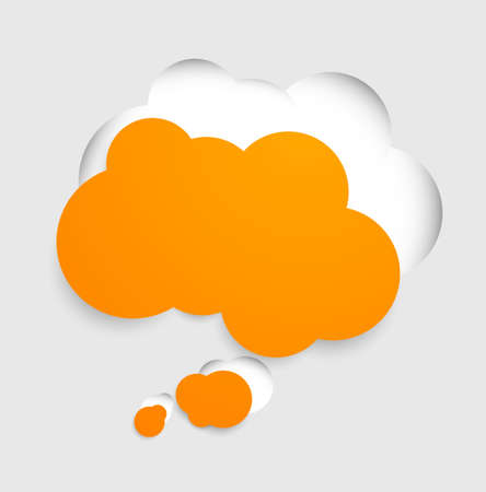 paper cut out: Speech bubble in orange color cut out from gray paper Illustration