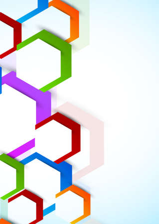 Background with colorful hexagons. Abstract illustration Vector