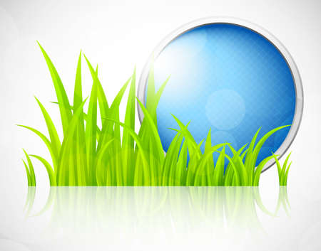 Round blue frame in grass. Abstract illustration Vector