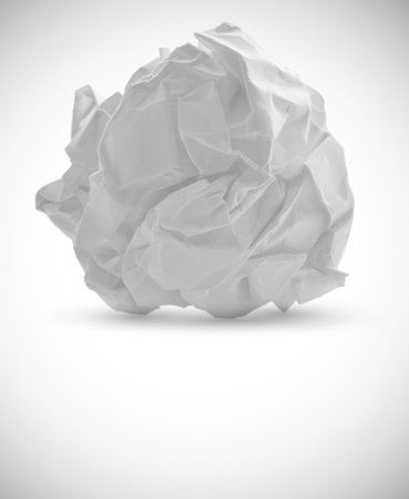 wadded: Crumpled paper isolated on white