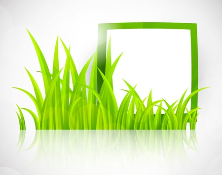 Green frame in grass  Bright spring illustration Vector