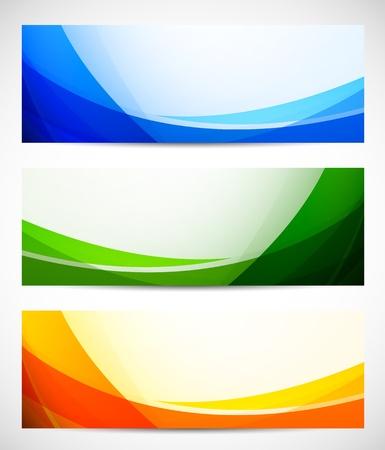 초록: 추상 배너 밝은 그림의 집합