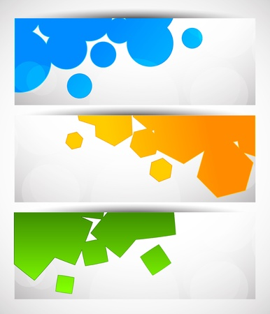 Set of banners with geometric elements Vector