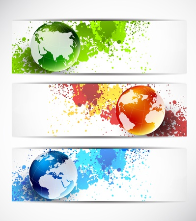 paint drip: Set of banners with globes  Abstract illustration