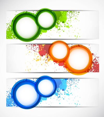 Set of grunge banners with circles Vector