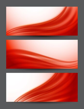 Set of red banners  Abstract illustration Vector