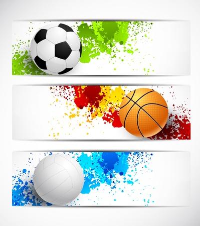 bannière football: Ensemble de bannières sportives avec des boules