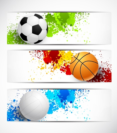 basketball game: Set of sport banners with balls