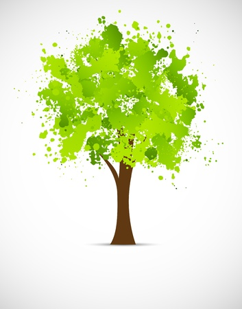Abstract grunge tree in green color Vector