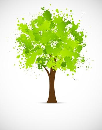 arbol de la vida: Árbol abstracto del grunge en color verde