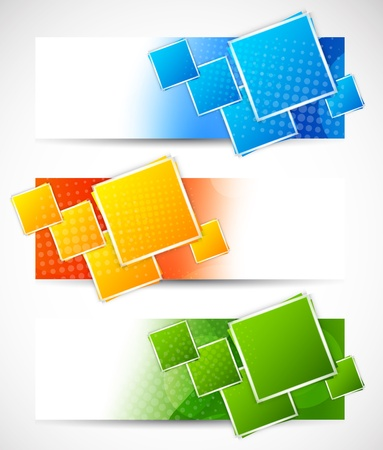 Set of banners with squares  Abstract illustration Vector