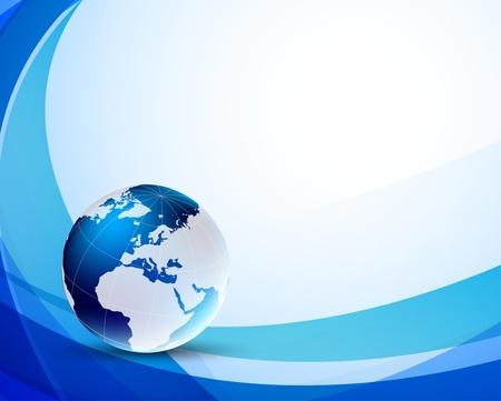 Blue background with globe. Abstract illustration Vector