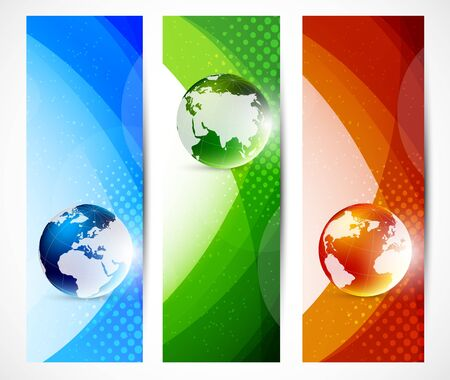 Set of banners with globes. Abstract illustration Vector
