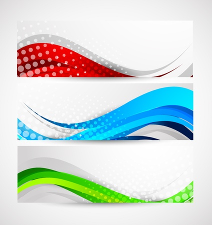 Set of wavy banners. Abstract illustration Vector