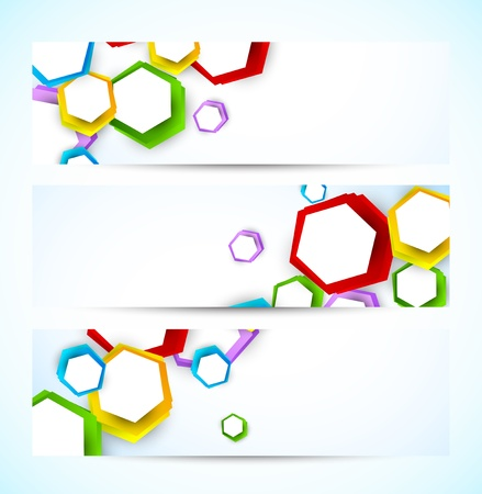Set of banners with colorful hexagons. Abstract illustration Vector