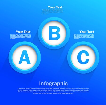 Infographic design with circles in blue color Vector