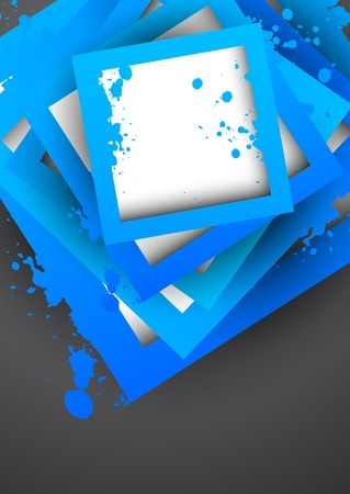 Background with blue grunge squares. Abstract illustration Vector