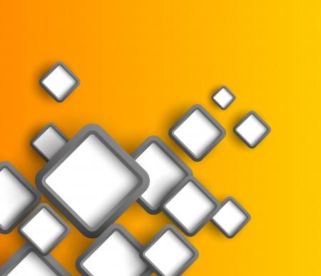 Fond orange avec des carrés gris Résumé illustration