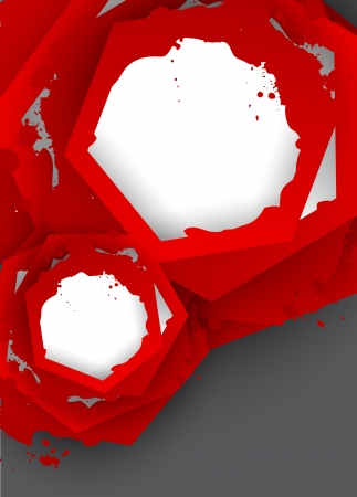 Background with red hexagons  Abstract illustration Vector
