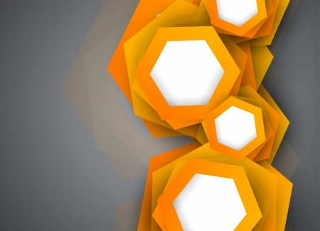 Background with orange hexagons  Abstract illustration Vector
