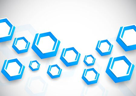 techno background: Abstract background with blue hexagons Illustration