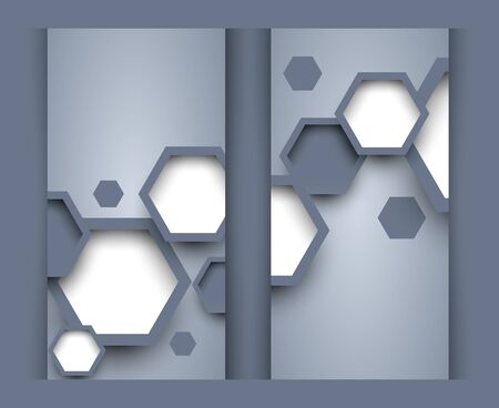 Set of banners with hexagons  Abstract illustraiton Vector