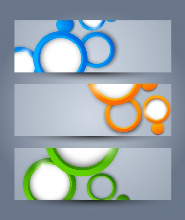 Set of banners with colorful circles Vector