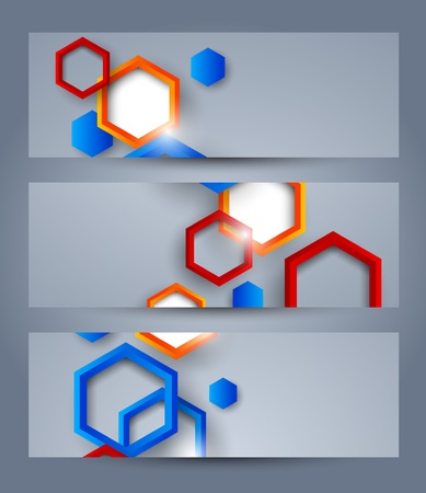 Set of banners with hexagons  Abstract illustration Vector