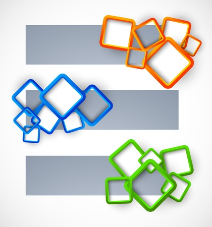 Set of banners with colorful squares Vector