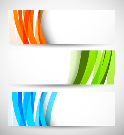 orange banner: Set of banners with lines  Abstract illustraiton