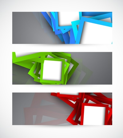 Set of banners with squares  Abstract illustraiton Vector