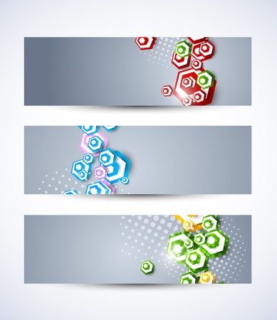 Set of banners with hexagons  Abstract illustration Stock Vector - 18840615