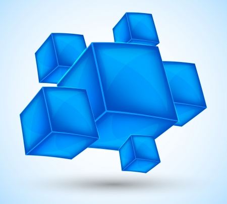 Background with blue cubes  Abstract illustration Vector