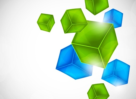 Background with blue and green cubes Vector