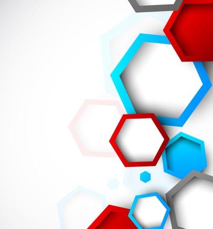六角形の明るい図と抽象的な背景