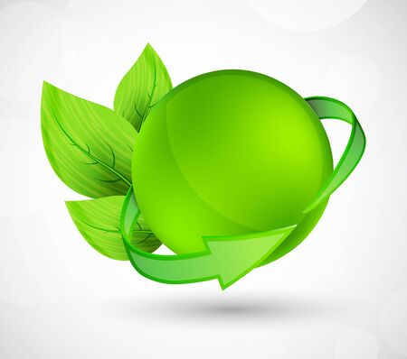 Sphere with arrow and leaves  Bright illustration Vector