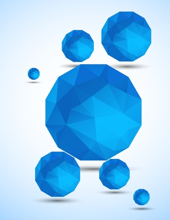 Abstract background with blue spheres. Bright illustration Vector