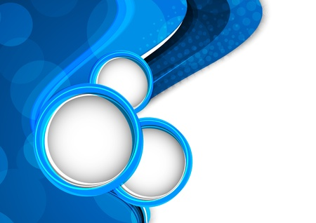 Abstract blue background with circles  Bright illustration Vector