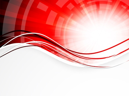 red line: Abstract wavy background in red color Illustration