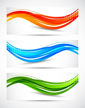 abstract waves: Set of abstract wavy banners